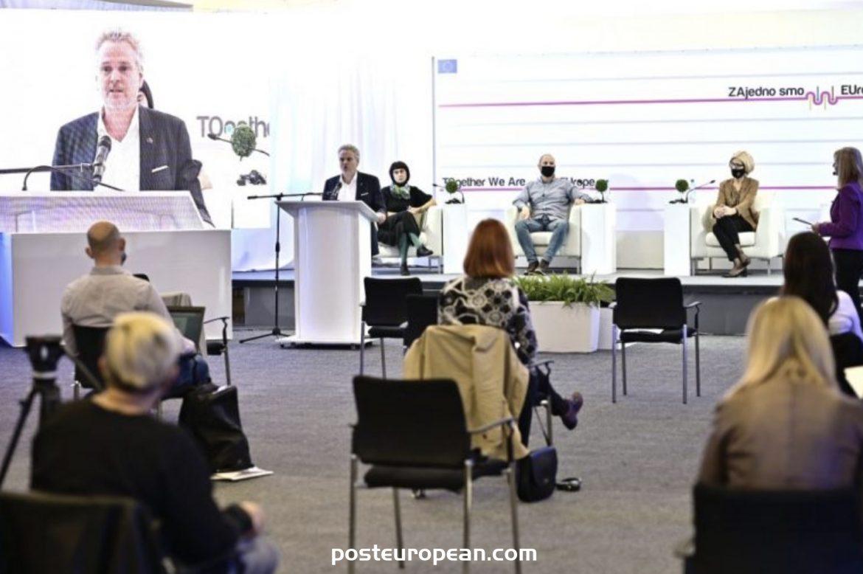 """歐盟在莫斯塔爾舉行的""""選舉與公民參與民主進程""""公開辯論"""